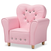 Baxton Studio Mabel Modern and Contemporary Pink Faux Leather Kids Armchair Baxton Studio restaurant furniture, hotel furniture, commercial furniture, wholesale living room furniture, wholesale kids chairs, classic kids chairs