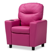 Baxton Studio Evonka Modern and Contemporary Magenta Pink Faux Leather Kids Recliner Chair Baxton Studio restaurant furniture, hotel furniture, commercial furniture, wholesale living room furniture, wholesale kids chairs, classic kids chairs