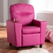 Baxton Studio Evonka Modern and Contemporary Magenta Pink Faux Leather Kids Recliner Chair - LD2056-Pink-CC
