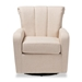 Baxton Studio Rayner Modern and Contemporary Beige Fabric Upholstered Swivel Chair - TSF7715-Beige-CC