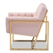 Baxton Studio Milano Modern and Contemporary Pink Velvet Fabric Upholstered Gold Finished Lounge Chair - TSF7719-Pink/Gold-CC