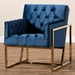 Baxton Studio Milano Modern and Contemporary Navy Velvet Fabric Upholstered Gold Finished Lounge Chair - TSF7719-Navy Blue/Gold-CC