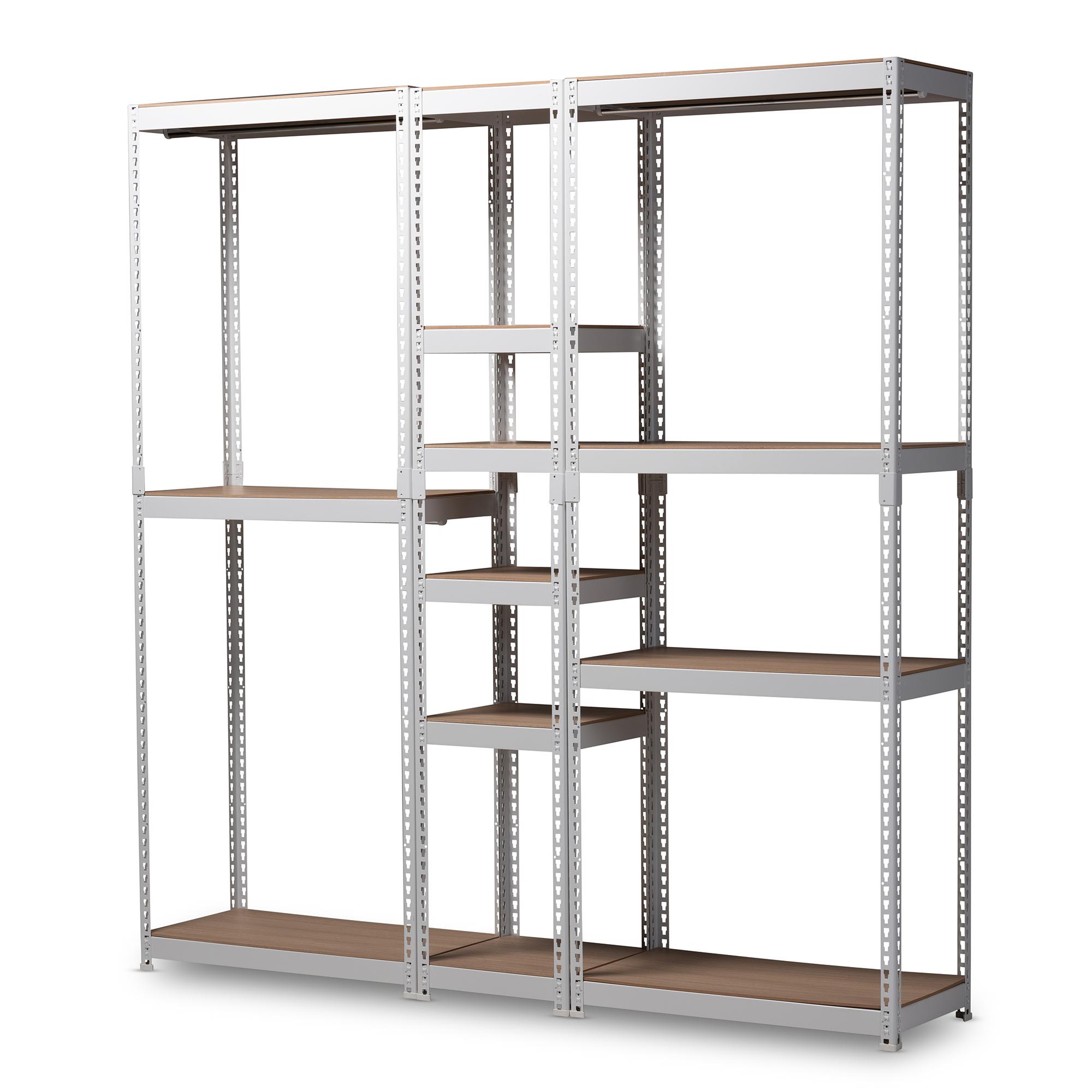 Baxton Studio Gavin Modern And Contemporary White Metal 10 Shelf Closet  Storage Racking Organizer ...