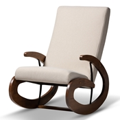 Baxton Studio Kaira Modern and Contemporary Light Beige Fabric Upholstered and Walnut-Finished Wood Rocking Chair Baxton Studio restaurant furniture, hotel furniture, commercial furniture, wholesale living room furniture, wholesale chair, classic rocking chairs