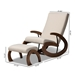 Baxton Studio Kaira Modern and Contemporary 2-Piece Light Beige Fabric Upholstered and Walnut-Finished Wood Rocking Chair and Ottoman Set - BBT5317-Light Beige-Otto-Set