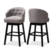 Baxton Studio Theron Transitional Gray Fabric Upholstered Wood Swivel Bar Stool Set of 2 Baxton Studio restaurant furniture, hotel furniture, commercial furniture, wholesale bar furniture, wholesale bar stool, classic bar stools