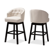 Baxton Studio Theron Transitional Light Beige Fabric Upholstered Wood Swivel Bar Stool Set of 2 Baxton Studio restaurant furniture, hotel furniture, commercial furniture, wholesale bar furniture, wholesale bar stool, classic bar stools
