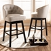 Baxton Studio Theron Transitional Light Beige Fabric Upholstered Wood Swivel Bar Stool Set - BBT5210B-Light Beige-BS
