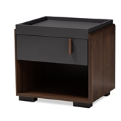 Baxton Studio Rikke Modern and Contemporary Two-Tone Gray and Walnut Finished Wood 1-Drawer Nightstand Baxton Studio restaurant furniture, hotel furniture, commercial furniture, wholesale bedroom furniture, wholesale nightstand, classic nightstand
