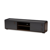 Baxton Studio Rikke Modern and Contemporary Two-Tone Gray and Walnut Finished Wood 2-Drawer TV Stand Baxton Studio restaurant furniture, hotel furniture, commercial furniture, wholesale living room furniture, wholesale tv stand, classic tv stands