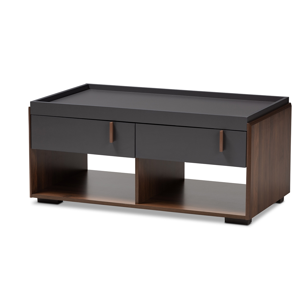 Baxton Studio Rikke Modern And Contemporary Two Tone Gray Walnut Finished Wood 2