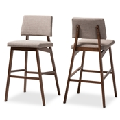 Baxton Studio Colton Mid-Century Modern Light Gray Fabric Upholstered and Walnut-Finished Wood Bar Stool Set of 2 Baxton Studio restaurant furniture, hotel furniture, commercial furniture, wholesale bar furniture, wholesale bar stool, classic bar stools