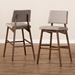 Baxton Studio Colton Mid-Century Modern Light Gray Fabric Upholstered and Walnut-Finished Wood Bar Stool Set - Colton-Light Grey-BS