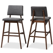 Baxton Studio Colton Mid-Century Modern Dark Gray Fabric Upholstered and Walnut-Finished Wood Bar Stool Set of 2 Baxton Studio restaurant furniture, hotel furniture, commercial furniture, wholesale bar furniture, wholesale bar stool, classic bar stools