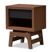 Baxton Studio Svante Mid-Century Modern Walnut Brown and Dark Gray Finished Wood 1-Drawer Nightstand Baxton Studio restaurant furniture, hotel furniture, commercial furniture, wholesale bedroom furniture, wholesale nightstand, classic nightstand
