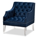 Baxton Studio Silvana Modern and Contemporary Navy Velvet Fabric Upholstered Lounge Chair with Acrylic Legs - TSF1239-Navy Blue/Acrylic-CC