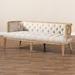 Baxton Studio Agnes French Provincial Beige Linen Fabric Upholstered and White-Washed Oak Wood Sofa - TSF99113-Beige/Natural Oak-SF