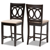 Baxton Studio Lenoir Modern and Contemporary Sand Fabric Upholstered Espresso Brown Finished Wood Counter Height Pub Chair Set of 2 Baxton Studio restaurant furniture, hotel furniture, commercial furniture, wholesale dining  room furniture, wholesale counter stools, classic counter stools