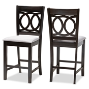 Baxton Studio Lenoir Modern and Contemporary Gray Fabric Upholstered Espresso Brown Finished Wood Counter Height Pub Chair Set of 2 Baxton Studio restaurant furniture, hotel furniture, commercial furniture, wholesale dining  room furniture, wholesale counter stools, classic counter stools