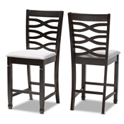 Baxton Studio Lanier Modern and Contemporary Gray Fabric Upholstered Espresso Brown Finished Wood Counter Height Pub Chair Set of 2 Baxton Studio restaurant furniture, hotel furniture, commercial furniture, wholesale dining  room furniture, wholesale counter stools, classic counter stools