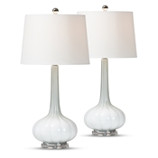 Baxton Studio Belmiro Modern and Contemporary 2-Piece White Glass Teardrop Table Lamp Set Baxton Studio restaurant furniture, hotel furniture, commercial furniture, wholesale lighting, wholesale Table Lamps, classic Table Lamps