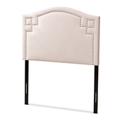 Baxton Studio Aubrey Modern and Contemporary Light Pink Velvet Fabric Upholstered Twin Size Headboard Baxton Studio restaurant furniture, hotel furniture, commercial furniture, wholesale bedroom furniture, wholesale twin, classic twin