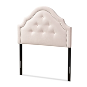 Baxton Studio Cora Modern and Contemporary Light Pink Velvet Fabric Upholstered Twin Size Headboard Baxton Studio restaurant furniture, hotel furniture, commercial furniture, wholesale bedroom furniture, wholesale twin, classic twin