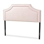 Baxton Studio Avignon Modern and Contemporary Light Pink Velvet Fabric Upholstered Full Size Headboard Baxton Studio restaurant furniture, hotel furniture, commercial furniture, wholesale bedroom furniture, wholesale full, classic full