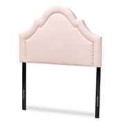 Baxton Studio Rita Modern and Contemporary Light Pink Velvet Fabric Upholstered Twin Size Headboard Baxton Studio restaurant furniture, hotel furniture, commercial furniture, wholesale bedroom furniture, wholesale twin, classic twin