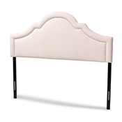 Baxton Studio Rita Modern and Contemporary Light Pink Velvet Fabric Upholstered Full Size Headboard Baxton Studio restaurant furniture, hotel furniture, commercial furniture, wholesale bedroom furniture, wholesale full, classic full