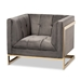 Baxton Studio Ambra Glam and Luxe Grey Velvet Fabric Upholstered and Button Tufted Armchair with Gold-Tone Frame - TSF-5507-Grey/Gold-CC