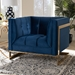 Baxton Studio Ambra Glam and Luxe Navy Blue Velvet Fabric Upholstered and Button Tufted Armchair with Gold-Tone Frame - TSF-5507-Navy/Gold-CC