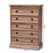 Baxton Studio Ryker Modern and Contemporary Oak Finished 5-Drawer Wood Chest - FP-1804-4010