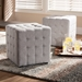 Baxton Studio Elladio Modern and Contemporary Greyish Beige Fabric Upholstered Tufted Cube Ottoman (Set of 2) - BBT5127-Greyish Beige-Otto