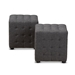 Baxton Studio Elladio Modern and Contemporary Dark Grey Fabric Upholstered Tufted Cube Ottoman (Set of 2) - BBT5127-Dark Grey-Otto