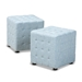 Baxton Studio Elladio Modern and Contemporary Light Blue Fabric Upholstered Tufted Cube Ottoman (Set of 2) - BBT5127-Light Blue-Otto