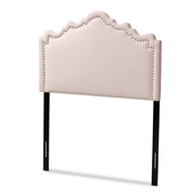Baxton Studio Nadeen Modern and Contemporary Light Pink Velvet Fabric Upholstered Twin Size Headboard Baxton Studio restaurant furniture, hotel furniture, commercial furniture, wholesale bedroom furniture, wholesale twin, classic twin