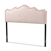 Baxton Studio Nadeen Modern and Contemporary Light Pink Velvet Fabric Upholstered Full Size Headboard Baxton Studio restaurant furniture, hotel furniture, commercial furniture, wholesale bedroom furniture, wholesale full, classic full