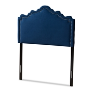 Baxton Studio Nadeen Modern and Contemporary Navy Blue Velvet Fabric Upholstered Twin Size Headboard Baxton Studio restaurant furniture, hotel furniture, commercial furniture, wholesale bedroom furniture, wholesale twin, classic twin