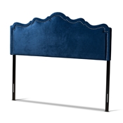 Baxton Studio Nadeen Modern and Contemporary Navy Blue Velvet Fabric Upholstered Full Size Headboard Baxton Studio restaurant furniture, hotel furniture, commercial furniture, wholesale bedroom furniture, wholesale full, classic full