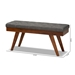 Baxton Studio Alona Mid-Century Modern Medium Grey Fabric Upholstered Wood Dining Bench - Alona-Medium Oak/Medium Grey-Bench