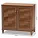 Baxton Studio Coolidge Modern and Contemporary Walnut Finished 4-Shelf Wood Shoe Storage Cabinet - FP-01LV-Walnut