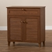 Baxton Studio Coolidge Modern and Contemporary Walnut Finished 4-Shelf Wood Shoe Storage Cabinet with Drawer - FP-02LV-Walnut