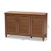 Baxton Studio Coolidge Modern and Contemporary Walnut Finished 8-Shelf Wood Shoe Storage Cabinet - FP-04LV-Walnut