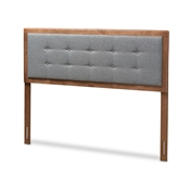 Baxton Studio Sarine Mid-Century Modern Dark Grey Fabric Upholstered Walnut Brown Finished Wood Full Size Headboard Baxton Studio restaurant furniture, hotel furniture, commercial furniture, wholesale bedroom furniture, wholesale full, classic full