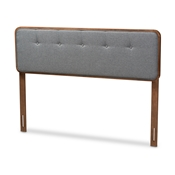 Baxton Studio Palina Mid-Century Modern Dark Grey Fabric Upholstered Walnut Brown Finished Wood Full Size Headboard Baxton Studio restaurant furniture, hotel furniture, commercial furniture, wholesale bedroom furniture, wholesale full, classic full
