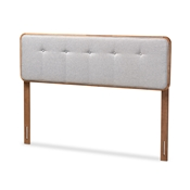 Baxton Studio Palina Mid-Century Modern Light Grey Fabric Upholstered Walnut Brown Finished Wood Full Size Headboard Baxton Studio restaurant furniture, hotel furniture, commercial furniture, wholesale bedroom furniture, wholesale full, classic full
