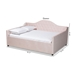 Baxton Studio Perry Modern and Contemporary Light Pink Velvet Fabric Upholstered and Button Tufted Queen Size Daybed - CF8940-Light Pink-Daybed-Q