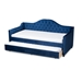 Baxton Studio Perry Modern and Contemporary Navy Blue Velvet Fabric Upholstered and Button Tufted Twin Size Daybed with Trundle - CF8940-Navy Blue-Daybed-T/T