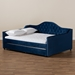 Baxton Studio Perry Modern and Contemporary Navy Blue Velvet Fabric Upholstered and Button Tufted Queen Size Daybed with Trundle - CF8940-Navy Blue-Daybed-Q/T